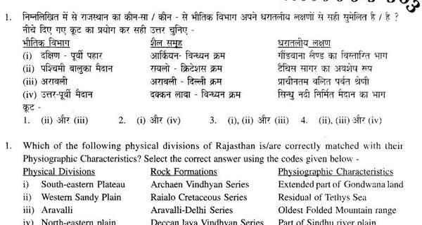 Rajasthan Patwari Pre Main Previous year paper with Answer key